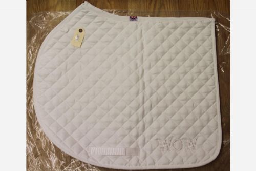 "Jumping 17"" + 2"" Off White/ Cream Saddle Cloth With White Logo"